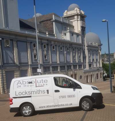 Andy from Absolute Locks Outside the Alhambra Theatre Bradford Locksmith Near Me