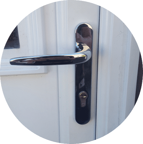 New replacement chrome handle and high security external door lock fitted in Bradford